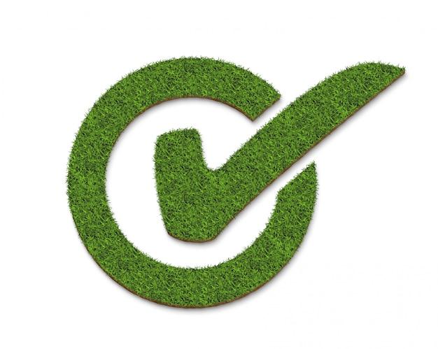 Segno di spunta di erba verde