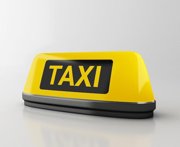 Segno di taxi giallo 3d. domanda di taxi online.