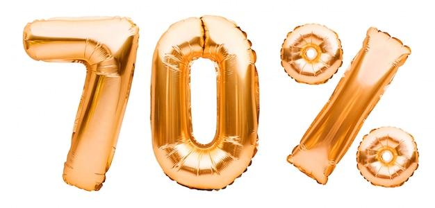Segno dorato di settanta per cento fatto di palloncini gonfiabili isolati su bianco. palloncini ad elio, numeri di lamina d'oro. decorazione di vendita, sconto del 70%