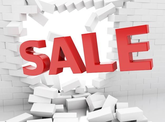 Segno e muro di mattoni di vendita 3d