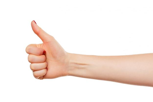 Segno giusto della mano isolato su bianco