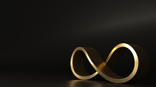 Segno infinito d'oro forma chiusa a spirale