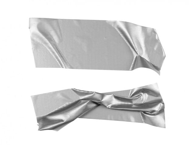 Selezione del nastro d'argento isolata su bianco