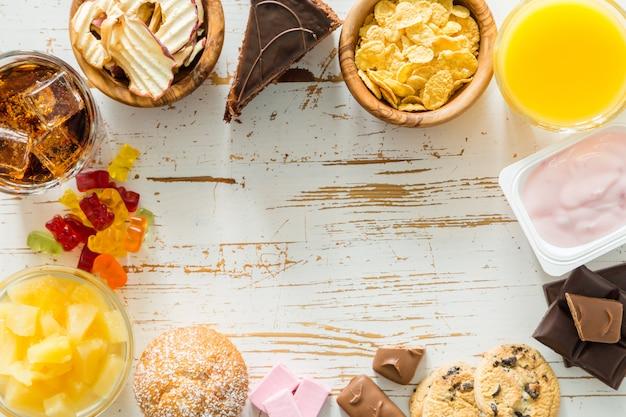 Selezione di cibo ad alto contenuto di zucchero