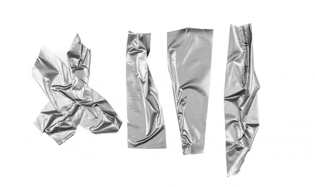 Selezione di nastro d'argento su sfondo bianco