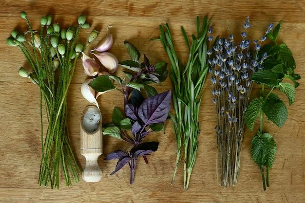Selezione di spezie erbe e verdure. erbe aromatiche fresche sulla tavola di legno.