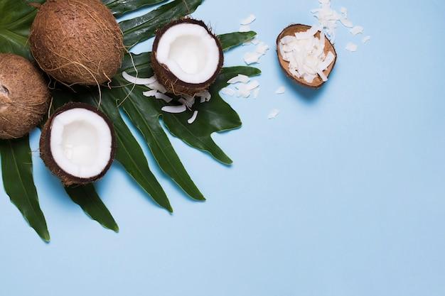 Selezione di vista dall'alto di gustose noci di cocco con spazio di copia