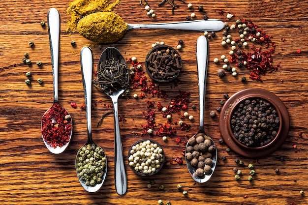 Selezione piatta di erbe e spezie