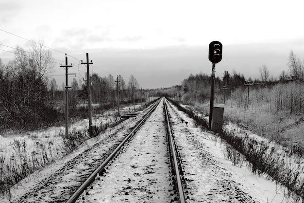 Semaforo ferroviario coperto di neve