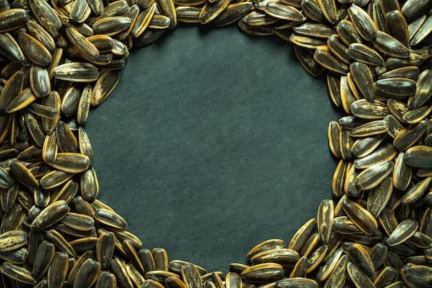 Semi di fiore di sun sul pavimento nero del cemento. vista dall'alto e copia spazio a forma di cerchio. concetto di agricoltura e fattoria biologica.