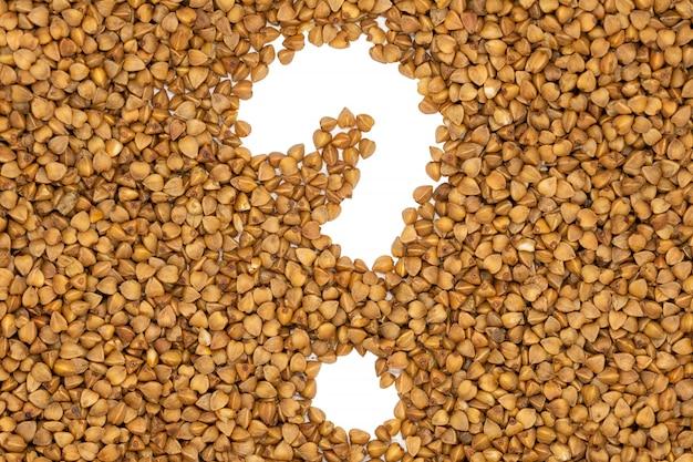 Semole di grano saraceno, forma del punto interrogativo, da vicino.