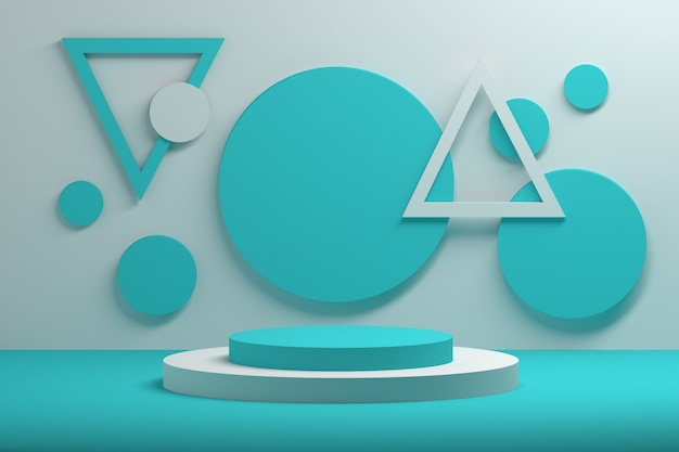 Semplice composizione geometrica con forme blu e bianche