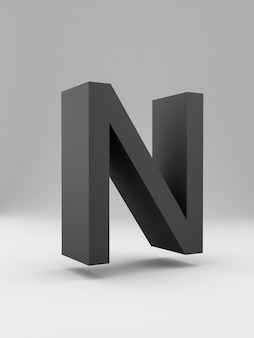Semplice lettera 3d. grassetto. nero su sfondo grigio.