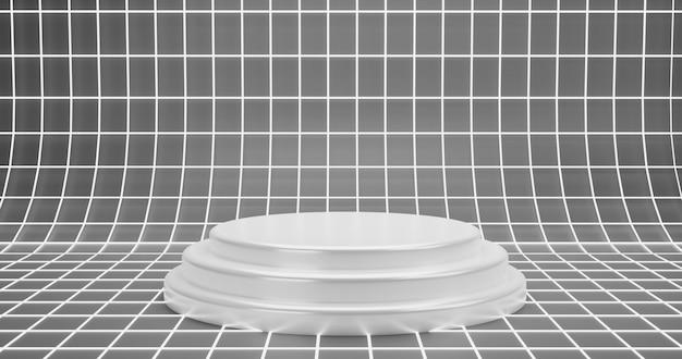 Semplice podio bianco su sfondo bianco wireframe superficie bagliore bianco