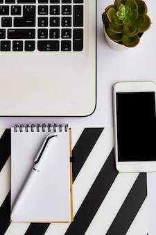 Semplice scrivania da ufficio alla moda con notebook, blocco note per ufficio ecologico e succulenta in vaso. home office desktop