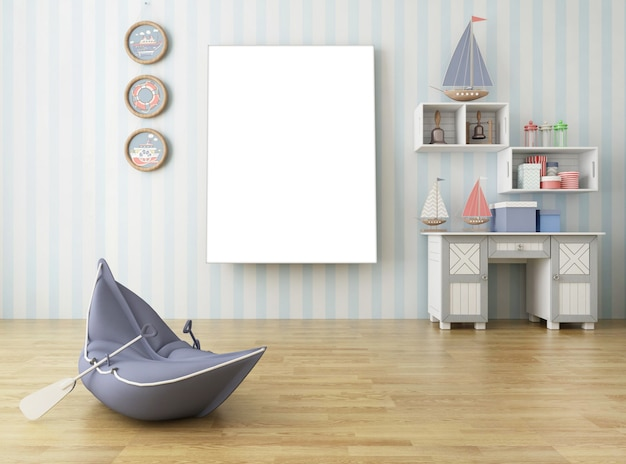 Semplice soggiorno in stile europeo con grande cornice per foto