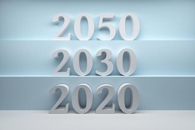 Sequenza di numeri anno 2020, 2030, 2050 disposti su scale