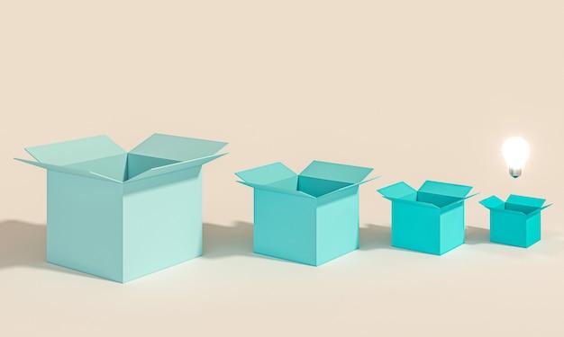 Serie di scatole aperte e vuote