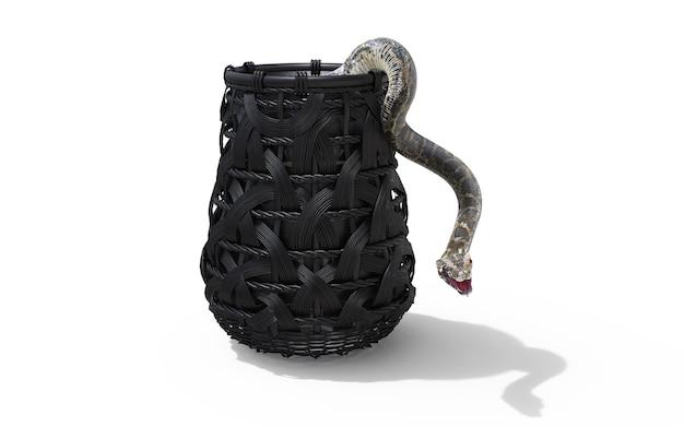 Serpente del boa constrictor isolato su fondo bianco in secchio con il percorso di ritaglio