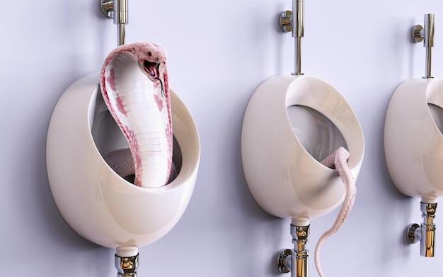 Serpente della cobra del re dell'albino dell'illustrazione 3d in bidets