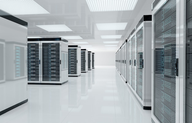 Server bianco centrare la stanza con computer e sistemi di archiviazione rendering 3d