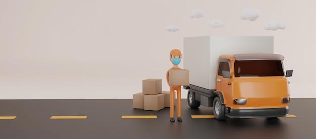 Servizio di consegna online di tuck con il concetto di maschere. rendering 3d.