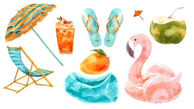 Set acquerello vacanze al mare.