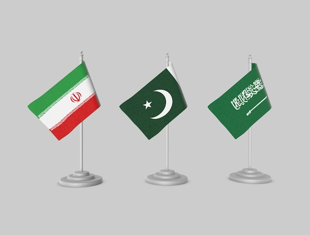 Set di bandiere - pakistan, iran, ksa