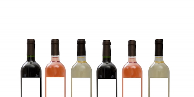 Set di bottiglie di vino bianco, rosa e rosso isolato su sfondo bianco