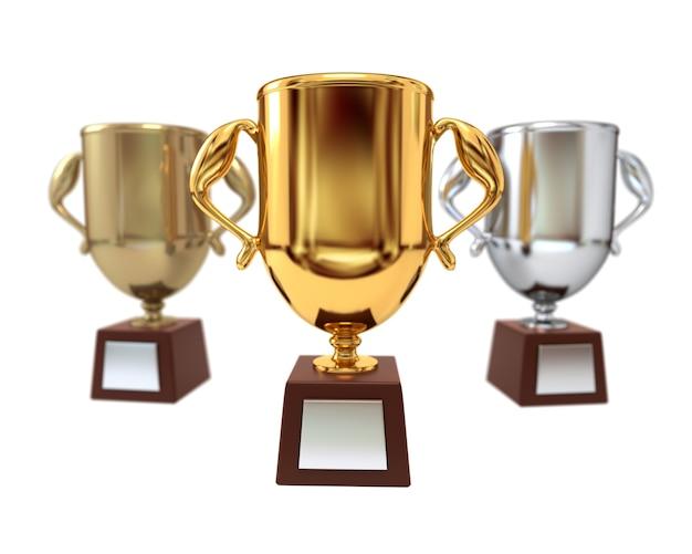 Set di coppa premio isolato su uno sfondo bianco.