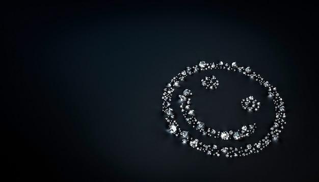 Set di diamanti che giace a forma di un volto sorridente sulla superficie. illustrazione 3d