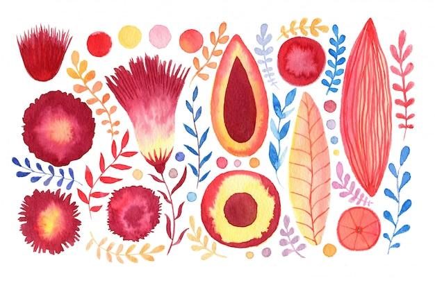 Set di fiori fantasia ad acquerello. decorazione tropicale e cartoleria. invito a nozze o design di articoli di cancelleria.