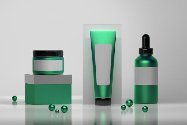 Set di flaconi per la cosmetica in puro verde e bianco con perle decorative lucide.