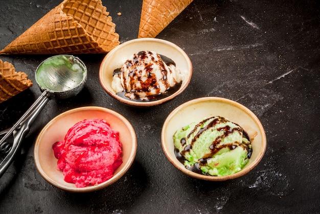 Set di gelato colorato
