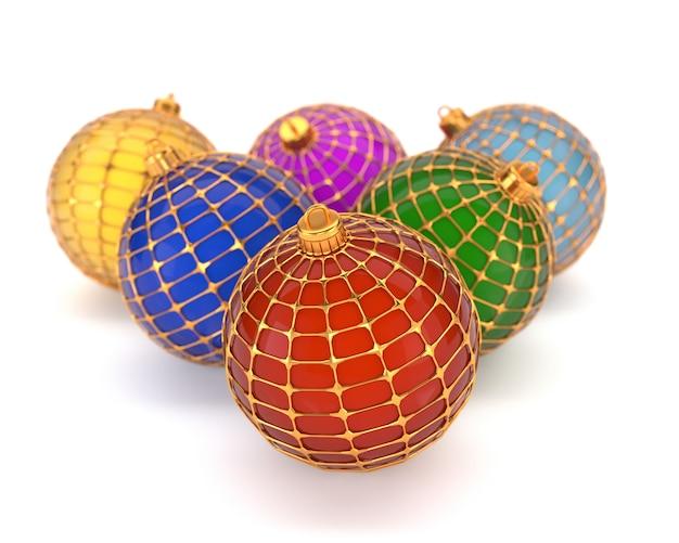 Set di giocattoli multicolori di natale, isolato su sfondo bianco. decorazioni natalizie. illustrazione 3d