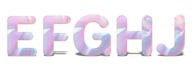 Set di lettere maiuscole e, f, g, h, j in brillante design olografico, alfabeto al neon lucido.