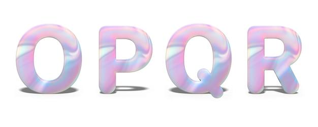 Set di lettere maiuscole o, p, q, r in brillante design olografico, alfabeto al neon lucido.