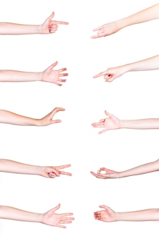 Set di mani umane che gesticolano su sfondo bianco