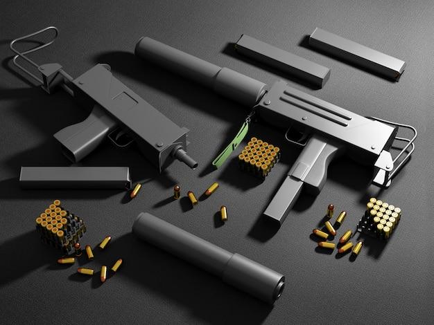Set di mitragliatrici automatiche da 9 mm con accessori