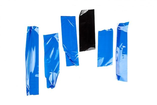 Set di nastri blu su bianco