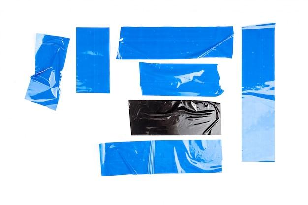 Set di nastri blu su sfondo bianco