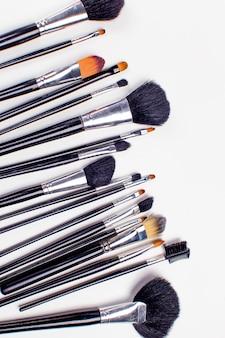 Set di pennello cosmetico, vista dall'alto, moda e bellezza, set di strumenti