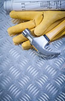 Set di piani di costruzione di guanti in pelle martello da carpentiere