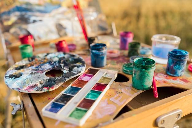 Set di pittura elementi di close-up