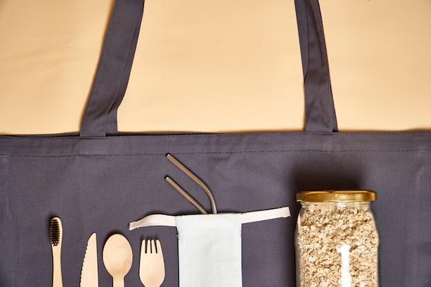 Set di posate in bambù ecologico, borsa ecologica, paglia in metallo
