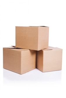 Set di scatole isolate on white