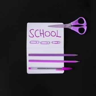 Set di scrittura viola per la scuola