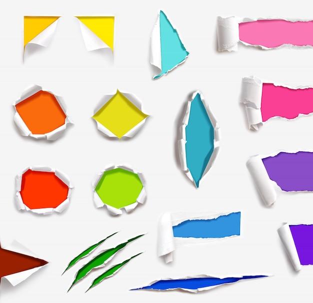 Set di sfondo bianco isolato modello di carta strappato trama