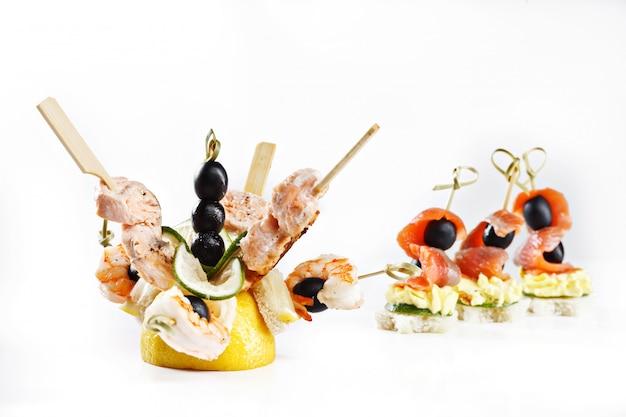 Set di tartine di pesce