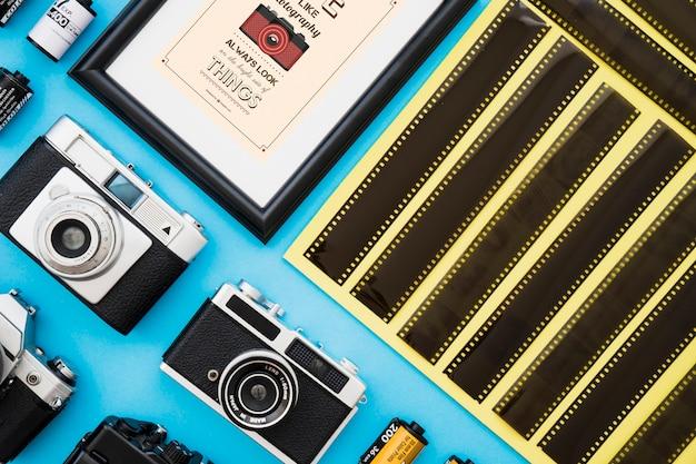 Set di telecamere e film vicino al telaio
